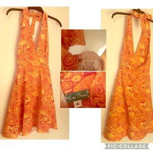 Eva Franco Orange & Yellow Sunburst Halter Dress 4